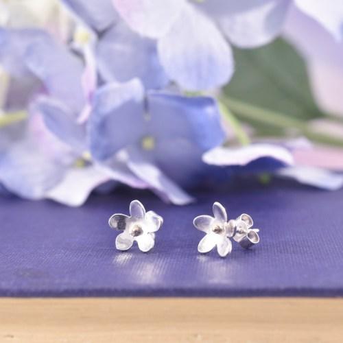 Handmade Sterling Silver Forget Me Not Stud Earrings