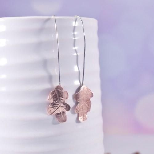 Handmade Copper Oak Leaf Earrings