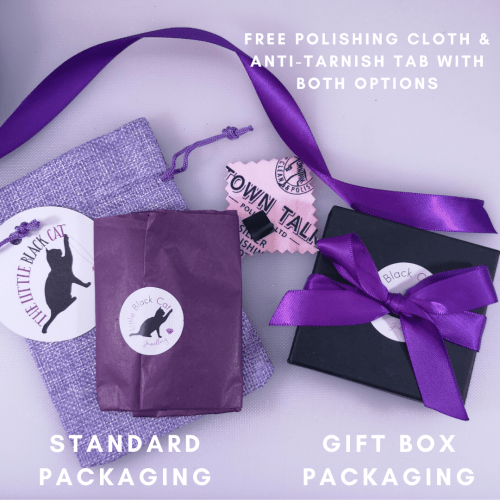 Packaging Options- Jute bag with tissue wrapped item, or black gift box with purple ribbon