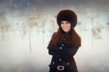 Beautiful stylish woman outside in the cold