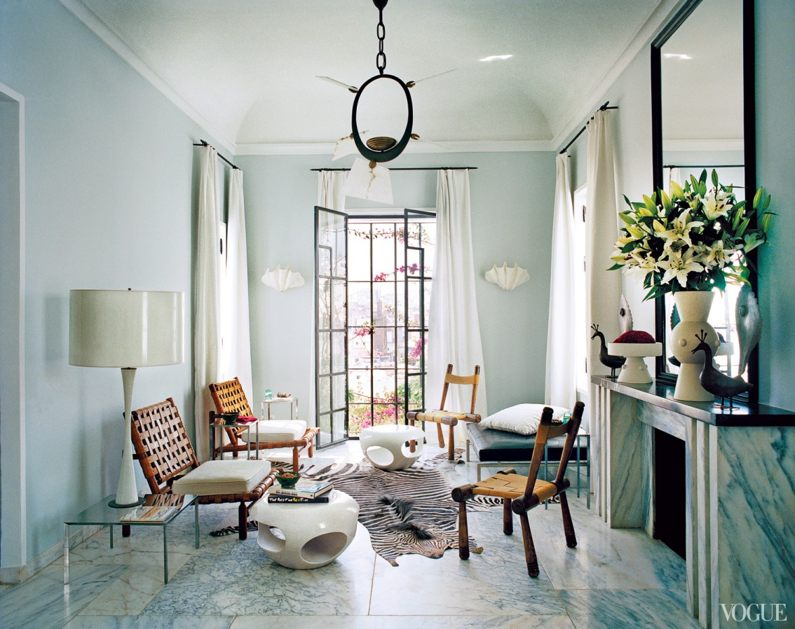 Something Is Out Of Balance In This Blue Marble Living Room via Vogue