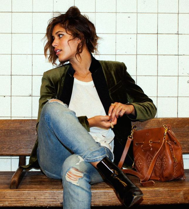 via pinterest Jeans and Velvet Jacket