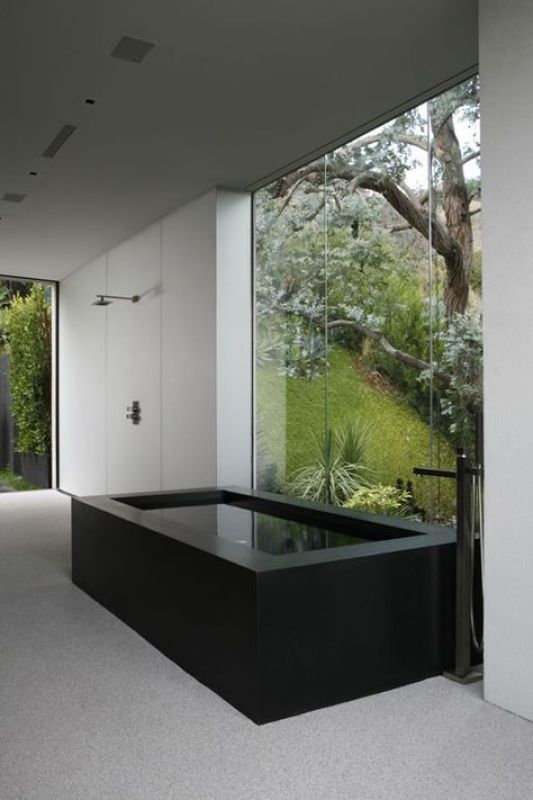 Modern Black Marble Free Standing Tub