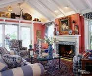 Salmon Pink Walls, Blue Stripe Sofa, Over Decorated Living Room