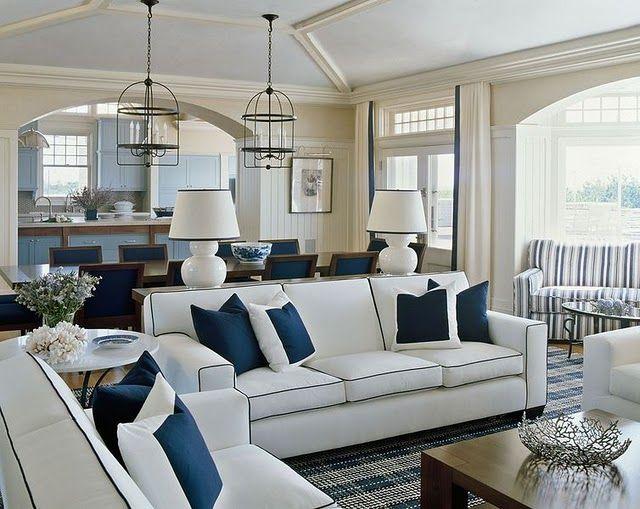 Blue Pillows on White Sofa