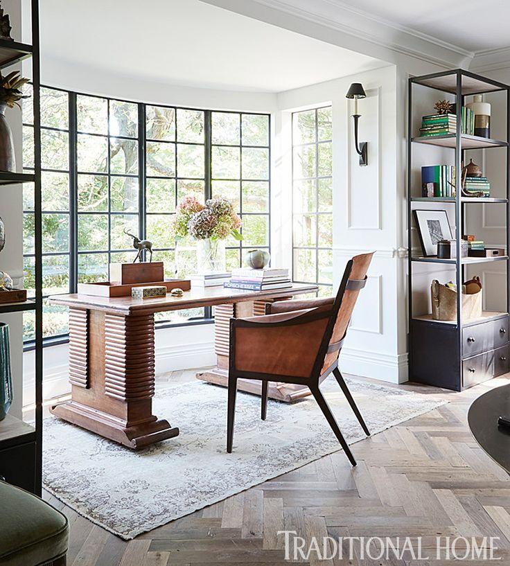 Traditional Home Desk In A Window, Herringbone Wood Floor, Metal Bookcases