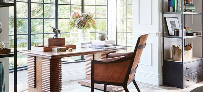 Traditional Home Desk In A Window, Herringbone Wood Floor, Metal Bookcases