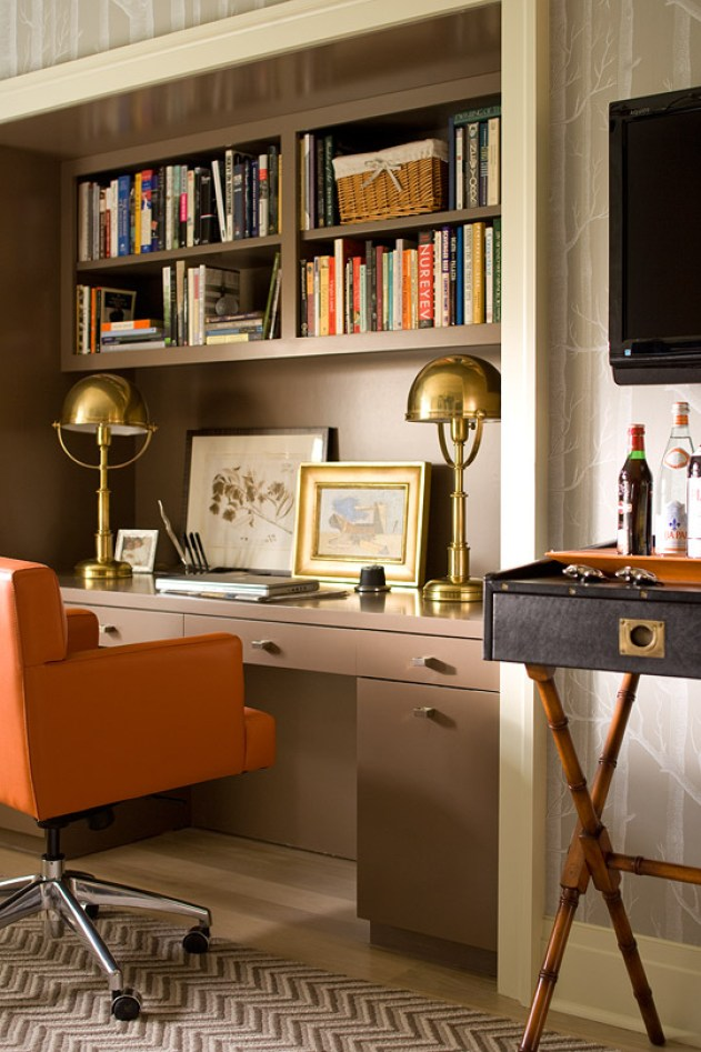 Traditional Home Office Carved Out Of A Closet Complete With Bar Cart
