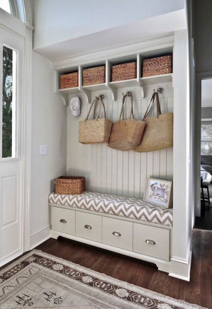 Built In Mudroom Storage Area with Drawers, Hooks and Baskets