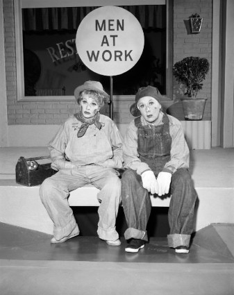 Lucy and Ethel In Workmans Clothes
