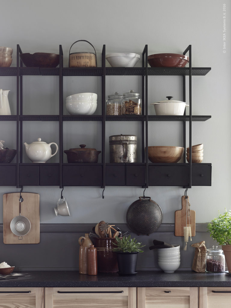 Ikea Dark Wall Shelf, Falsterbo
