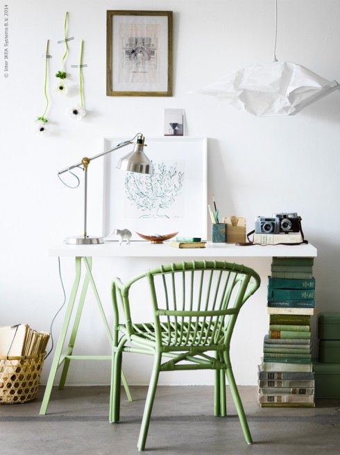 Ikea Apple Green Desk Chair, Wishbone Chairs at Desks, Desk Task Lighting