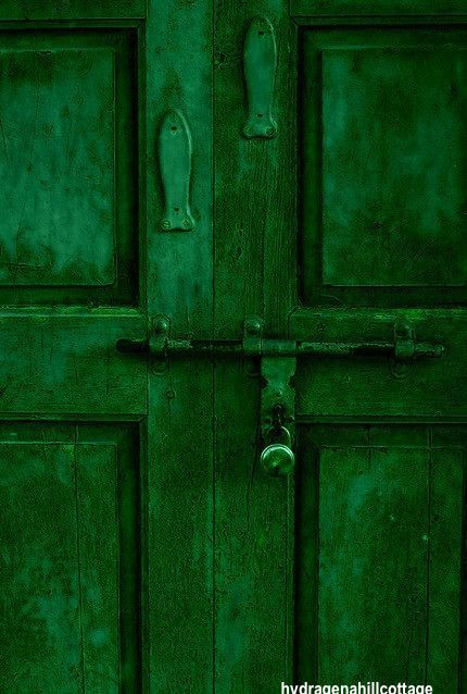 Rustic Green Painted Door