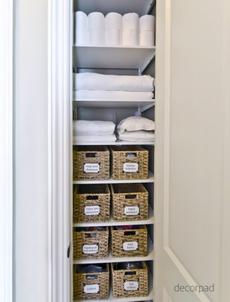 decor pad organized bath linen closet