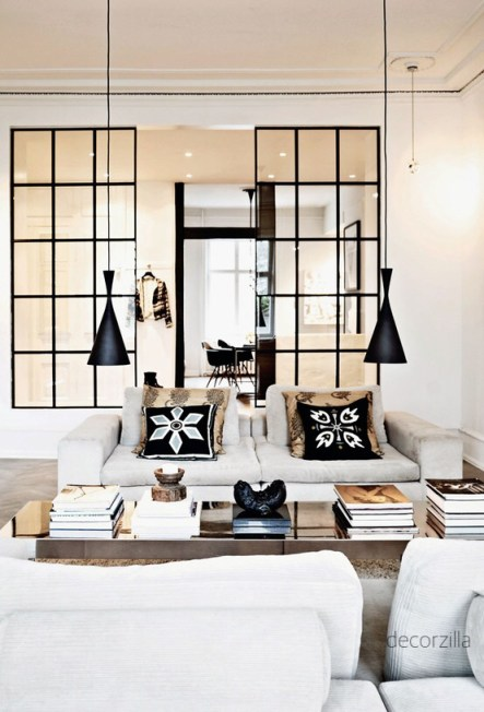 White Sofa Living Room with Black Grid Panels