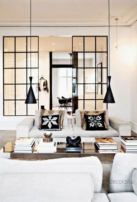 White Sofa Living Room with Black Grid Panels