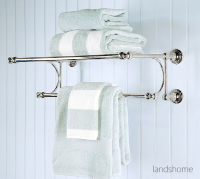 Aqua Striped Towels on Hotel Polished Chrome Rack