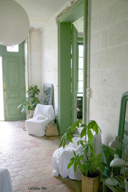 Painted Mint Green Doors, Stone Walls, Mexican Octagon Tile