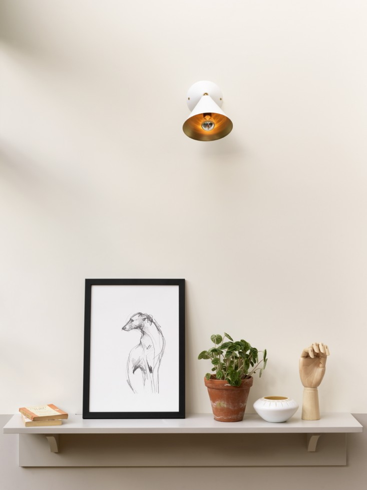 Simple Mantle  Accessories with Greyhound Art in Black and White, Artists Model Wood Hand, Potted Plant in Clay Pot