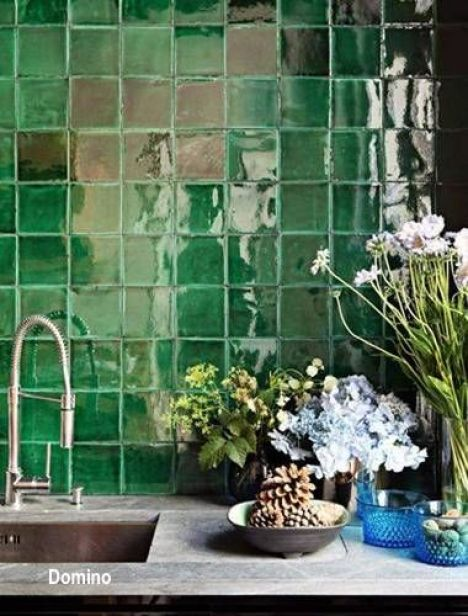 Gloss Green Hand Thrown Splash Tile, Concrete Counter Tops