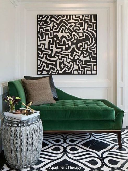 Green Velvet Chaise in Foyer. Black and White Patterned Foyer Floor, Large Modern Art