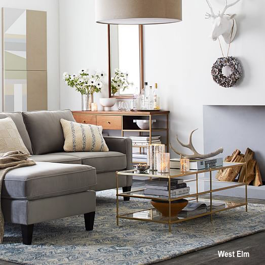 West Elm Terrace Cocktail Table, Gray Chaise Sectional, Console Tables and Bars, Antler Decor