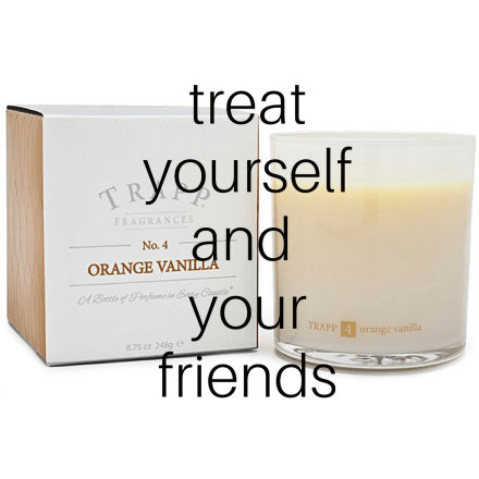 via trapp candles, orange vanilla No 4 candle