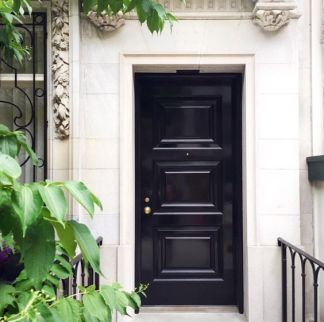 Glossy Black Paint On Entry Doors Gives A New Look To Older Doors - via pinterest