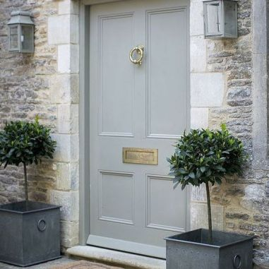 Cool Green Grey is a nice compliment to warm stones. Some stones can even handle the slightly more blue green grey so popular in France.-via pinterest