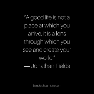 """A good life is not a place at which you arrive, it is a lens through which you see and create your world."""" ― Jonathan Fields"""