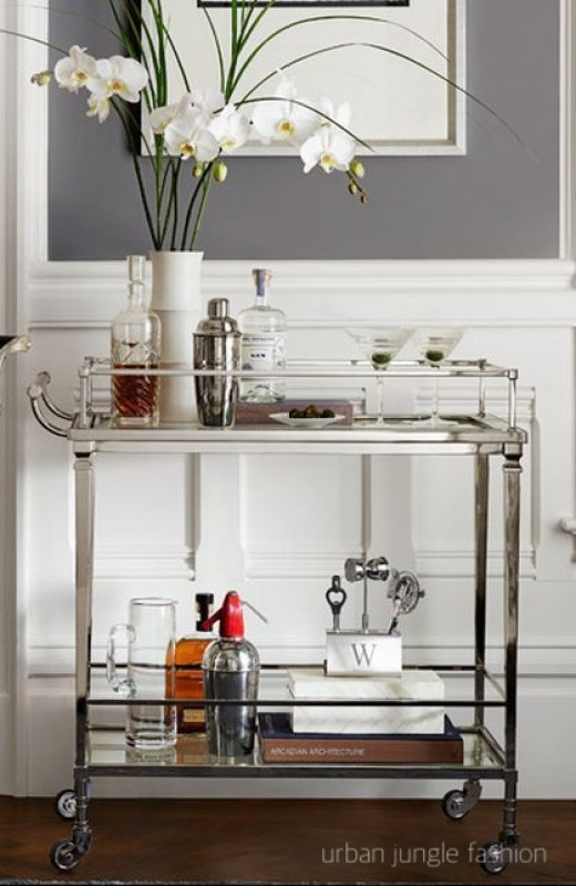 urban jungle fashion brushed chrome two level bar cart with white orchids, martini fixing bottles and glasses
