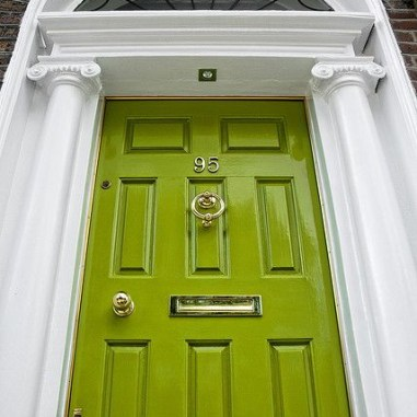 Oh those yellowy greens! Tropical lizards and kiwi insides...we love all that color for a front door selection!