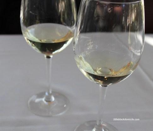 pair of white wine glasses