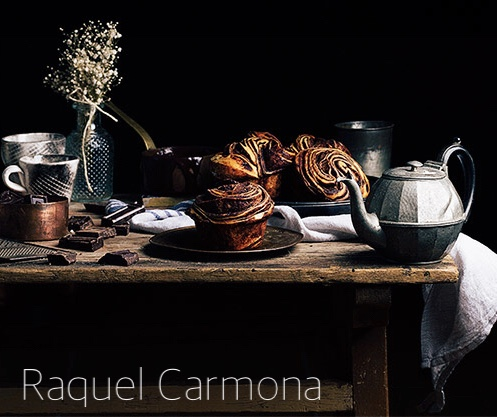 Rustic Breakfast- Pewter Teapot, Sticky Cinnamon Buns, Linen Napkins on Wood Table-via Raquel Carmona