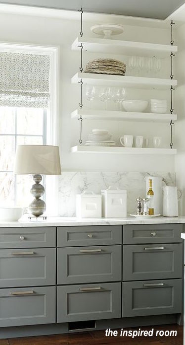 Open shelving in kitchens can come in many styles and sizes...what is right for you?  Kitchen-Open-Shelving-Gray-and-White-Kitchen -the inspired room