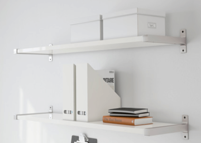 Ikea EKBY Wall Shelf with Aluminum Bracket In White  Finish