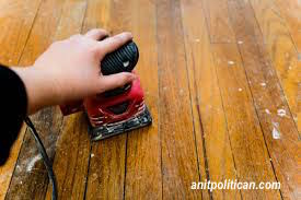 original wood flooring with paint splatters ready to refinish-via antipolitcan.com