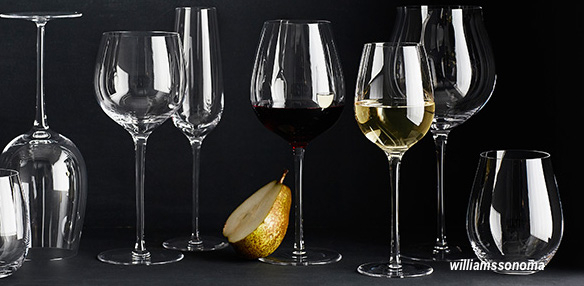 williams sonoma knows that it's chic to have mismatched wine glasses!