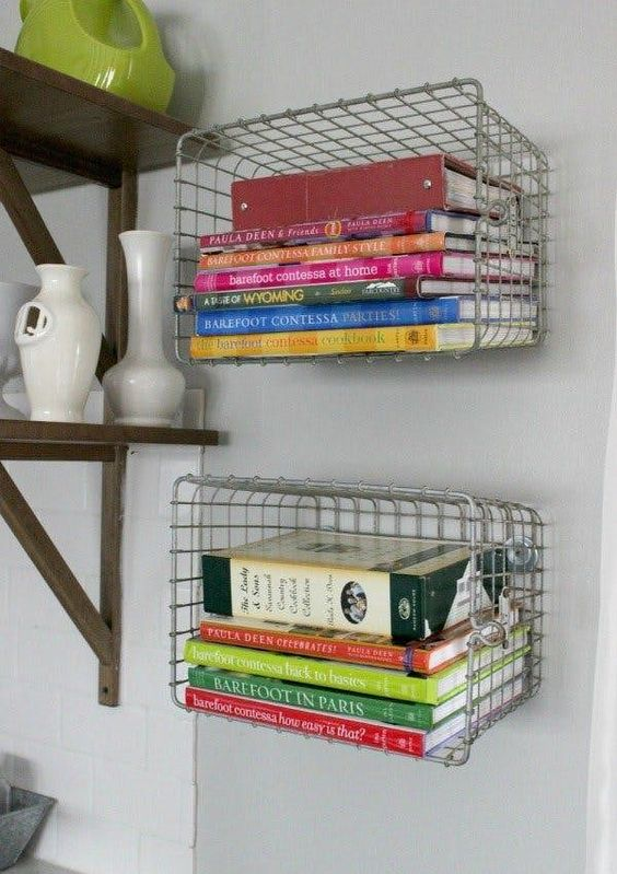 Wire Baskets Wall Mounted For Cookbooks