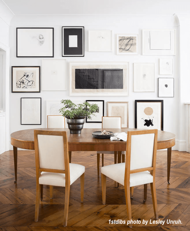 Dining Room with Gallery Wall of Art photo by Lesley Unruth via 1st dibs