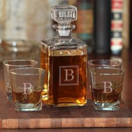 Monogrammed Liquor Decanter with Glasses