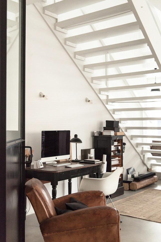 Scandinavian Home Office Work Station Under Open Stairway