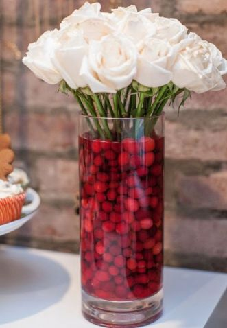 Tall Vase With Cranberries