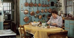 Julia Child In Kitchen with Turquoise Pegboard