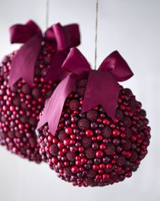 cranberry ornaments with magenta bows