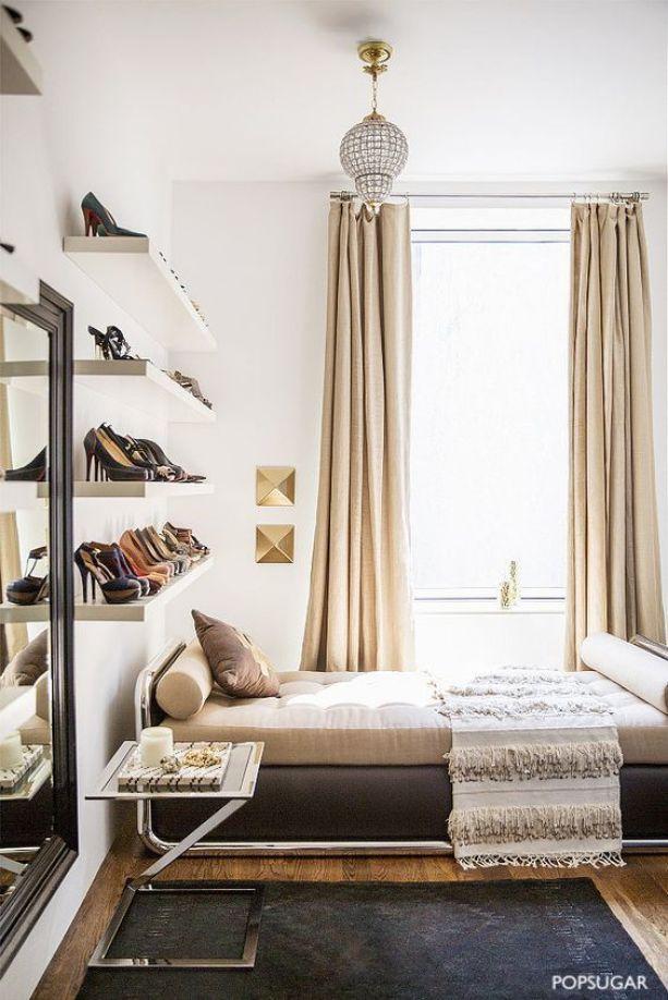 pop sugar wall shoe shelves over bed