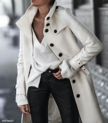 pinterest white wool coat with black military buttons