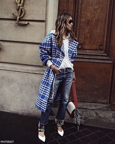 pinterest long blue and white plaid coat outside YSL location