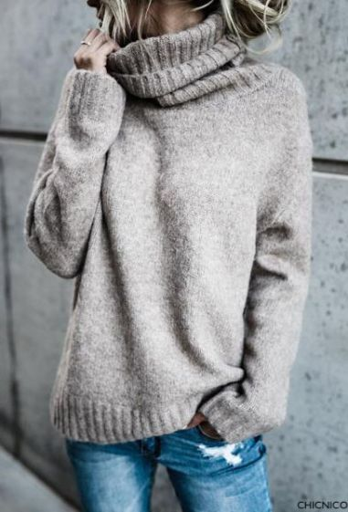 chicnico grey oversized turtleneck sweater