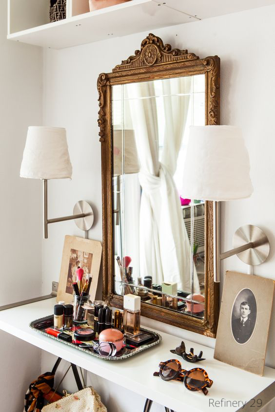 Refinery 29 Ikea Wall Shelf Vanity with Vintage Mirror, Wall Sconces, Tray with Perfume